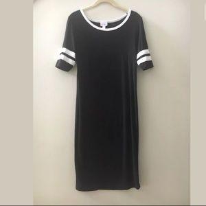 LULAROE Julia T Shirt Varsity Jersey Midi Dress